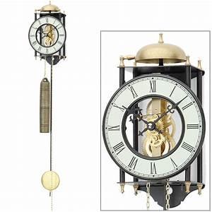 Wanduhr Mit Pendel : ams 302 wanduhr mit pendel mechanisch golden schwarz ~ Watch28wear.com Haus und Dekorationen