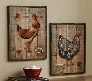 Rustic rooster and hen french country wall decor set
