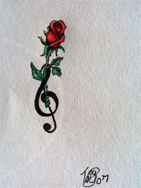 tattoo  note  rose tattoo red rose treble clef rose tattoo tattoo ideas small
