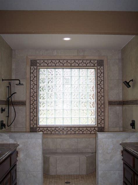 decorative tile  glass block window traditional