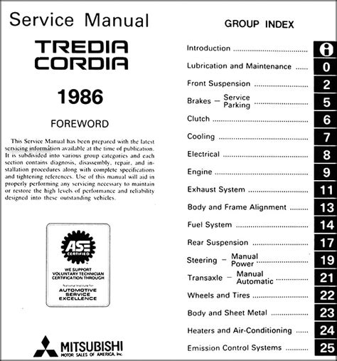 auto repair manual free download 1986 mitsubishi cordia engine control 1986 mitsubishi cordia tredia repair shop manual original
