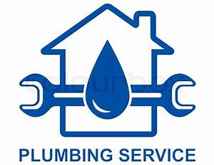 Plumbing sign with big water drop and spanner   Stock ...