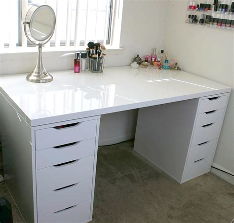 makeup desk with white makeup vanity and storage ikea linnmon alex