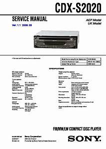 Sony Cdx-s2020 Service Manual