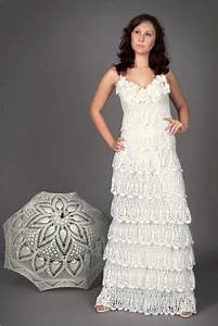 12 crochet wedding dresses for those summer weddings for Crocheted wedding dress