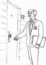 Knocking Knock Porta Coloring Illustrazione Portello Batte Uomo Che Illustratie Klopt Deur Bij Asas Colpo Mano Della Assado Galinha Grelhados sketch template
