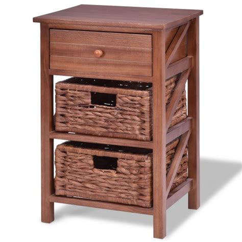 Nightstand With Baskets by 3 Tiers Wood Nightstand W 1 Drawer And 2 Basket