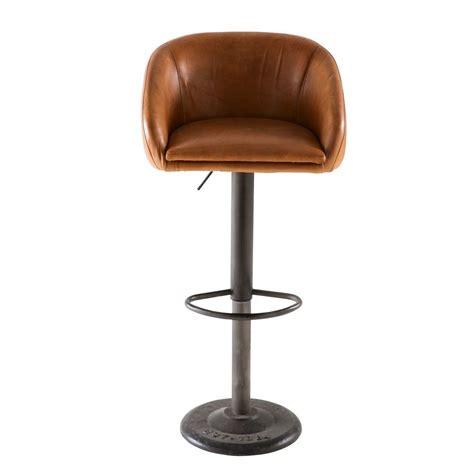chaise de bar indus en cuir camel gamachaise haute de bar xxcm maisons du monde