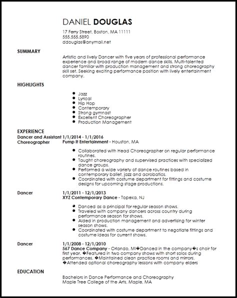 Performance Resume Template by Free Creative Dancer Resume Template Resume Now