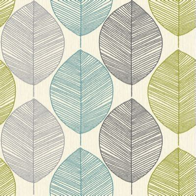 retro leaf tealgreen  arthouse wallpapers