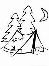 Coloring Camping Pages Tent Sleeping sketch template