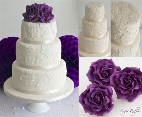 Lace Wedding Cake With Fuchsia Purple Roses #2484452