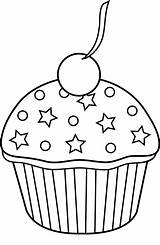 Cupcake Coloring Outline Pages Easy Cupcakes Clipart Sheets Sweetclipart sketch template
