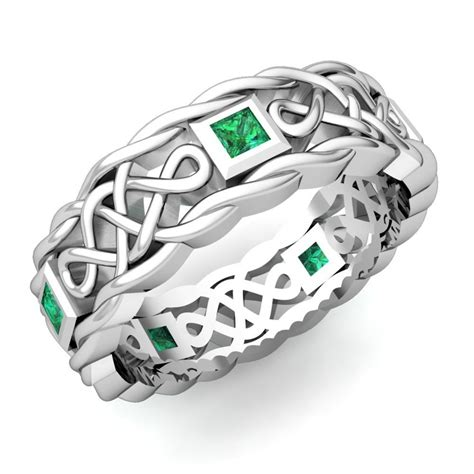 mens emerald wedding band   white gold celtic band