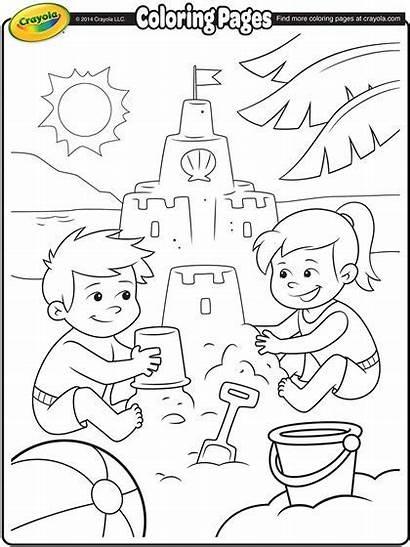 Coloring Sand Beach Castle Pages Building Castles