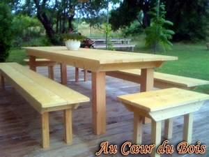 Table En Bois Avec Banc : table de jardin en bois avec banc l 39 habis ~ Teatrodelosmanantiales.com Idées de Décoration
