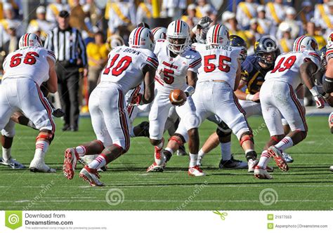 american college football handoff editorial stock photo