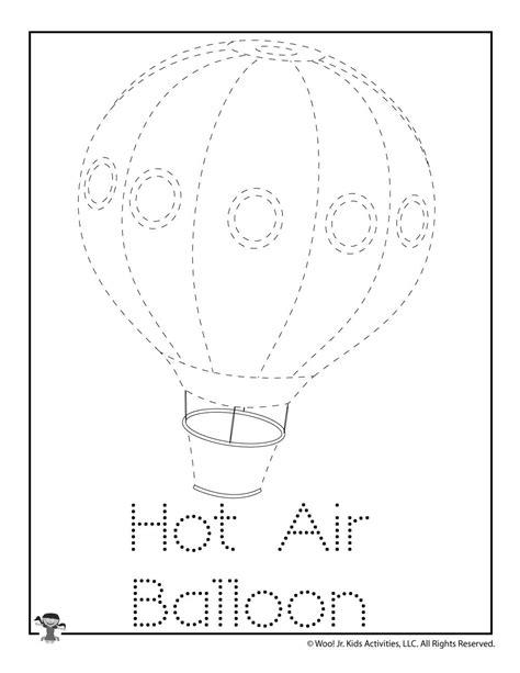 hot air balloon word tracing worksheet woo jr