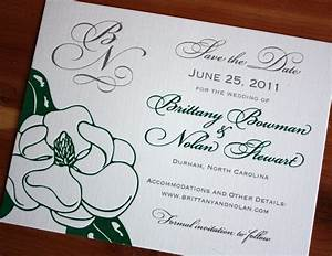 Green magnolia save the date card emdotzee designs for Magnolia tree wedding invitations