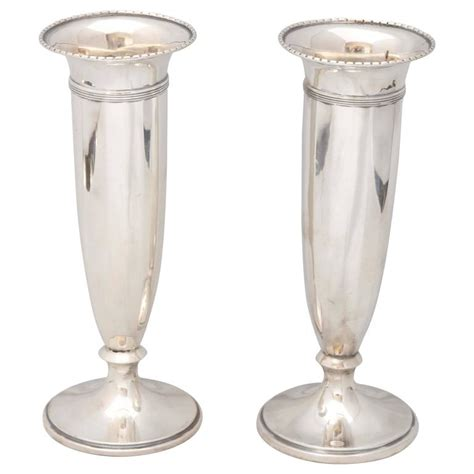 Silver Vases For Sale by Pair Of Edwardian Sterling Silver Vases For Sale At 1stdibs