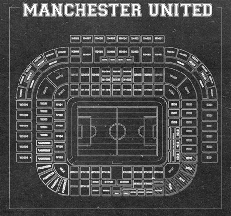 Print Vintage of Manchester United Old Trafford Blueprint ...