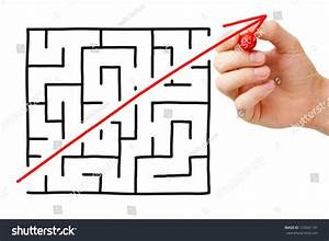 Shortcut Cutted Through Maze By Red Stock Photo 125541191