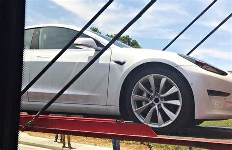 tesla model  roof rack system spotted  car delivered