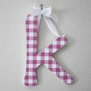13quot k pink gingham hanging letter ribbon nursery wall With hanging letters with ribbon