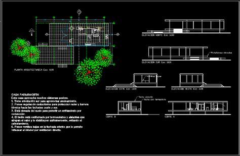 farnsworth house plano il     mies van der rohe  dwg plan  autocad designs cad