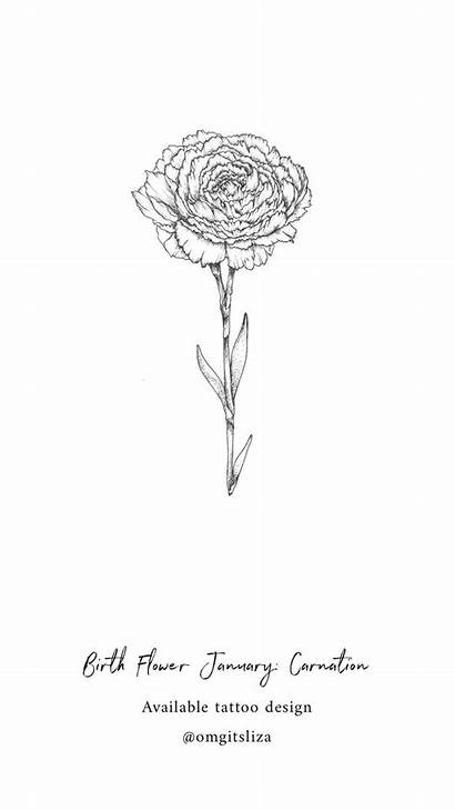 Birth Flower Tattoo January Carnation Flowers Tattoos