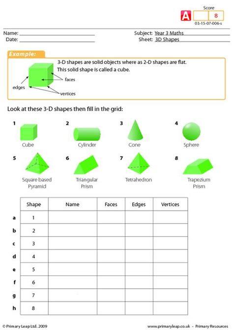 3d shape properties sheet ks1 3d shape worksheets from