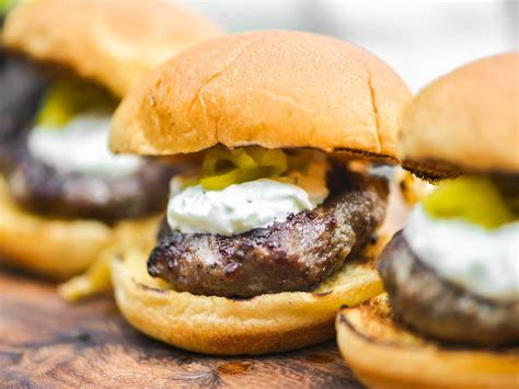 grilled hamburger recipes mini grilled gyro burgers with tzatziki and pickled peperoncini recipe serious eats