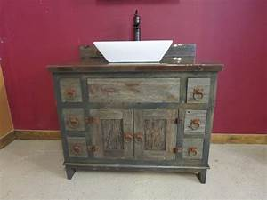 Reclaimed Gray Barn Wood Bathroom Vanity - Rustic