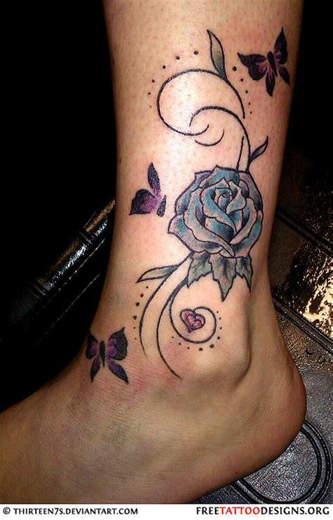 butterflies  rose flower tattoo  ankle tattooshuntcom
