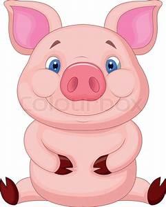 Cute baby pig cartoon sitting | Stock Vector | Colourbox