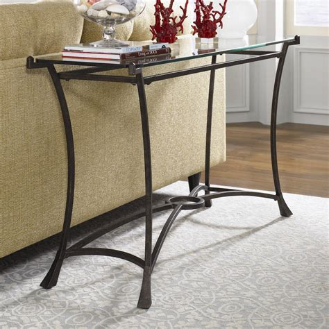 hammary sutton contemporary metal sofa table  glass top darvin furniture sofa tables