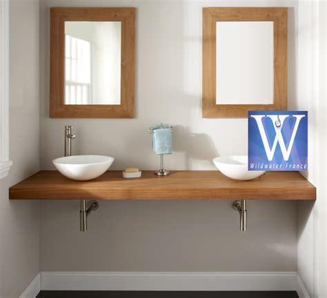 meubles de salle de bain en teck plan de travail