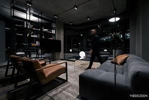 Trendy, Dark, Bachelor, Apartment, By, Yodezeen