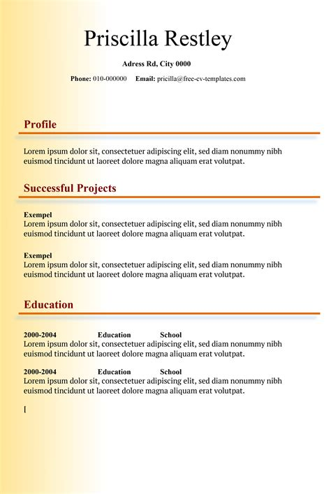 Make Resume Free No Charge by Shade Free Cv Template Made In Word