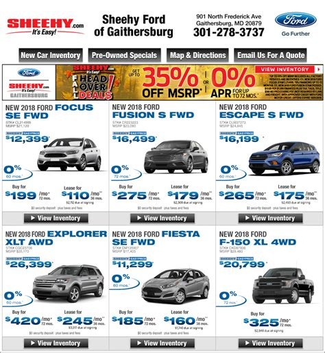 Sheehy Ford Gaithersburg by Sheehy Ford Of Gaithersburg Md New Ford Deals