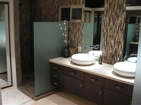 Master bathroom contemporary modern remodel with natural stone and glass accents Contemporary