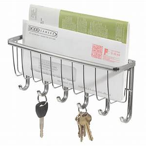 wall mount mail key hook storage rack organizer kitchen With letter organizer and key rack
