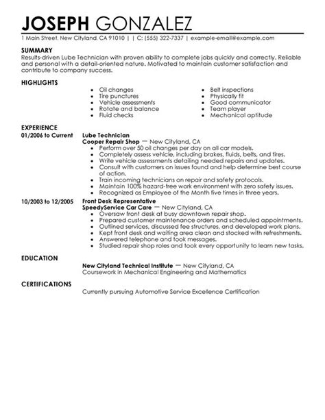 Resume Format For Experienced Food Technologist by Unforgettable Lube Technician Resume Exles To Stand Out