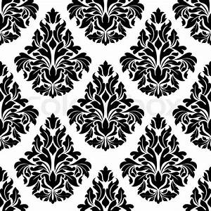 Intricate black and white arabesque design with a large ...