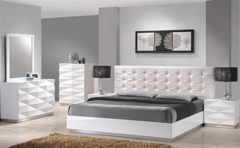 verona white lacquer platform bedroom set  jm