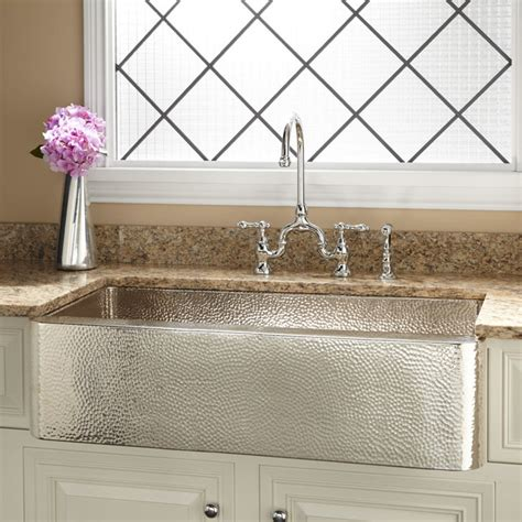 hammered stainless steel farmhouse sink 36 quot reena nickel plated hammered copper farmhouse sink