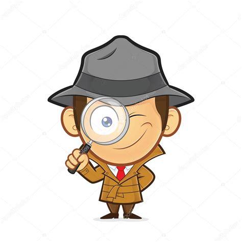 Detective Clip Detetive Segurando Uma Lupa Vetores De Stock