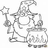 Wizard Coloring Magic Potion Wand Pages Printable Drawing Waving Preparing Colors Wands Wizards Drawings Print Puzzle sketch template