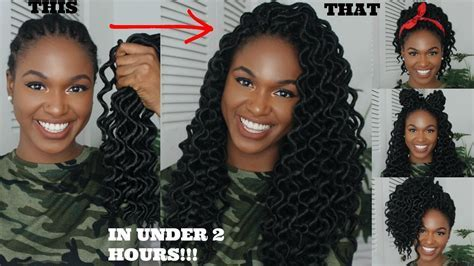HOW TO CROCHET AND STYLE WAVY GODDESS LOCS IN LESS THAN 2