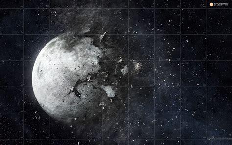 Mass Effect Wallpaper Hd Wallpaper Destroyed Moon Free Desktop Background